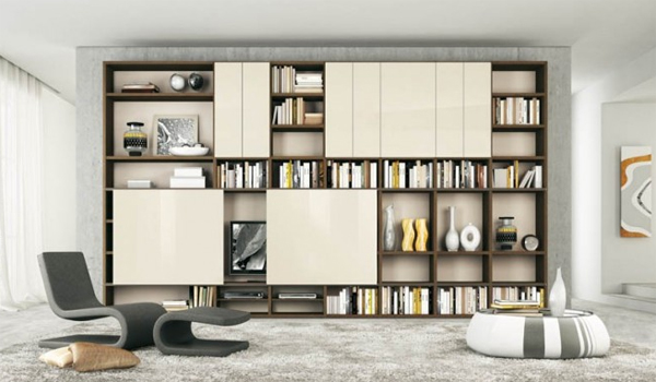 modern living rooms with bookshelves design Modern Living Rooms with Shelving Storage Units