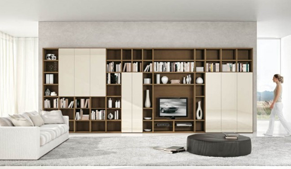 modern living rooms with brown storage units Modern Living Rooms with Shelving Storage Units
