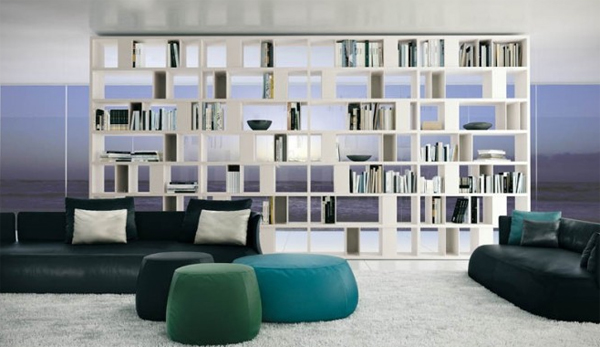modern living rooms with open shelving white Modern Living Rooms with Shelving Storage Units