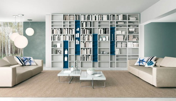 modern living rooms with shelves grey and blue Modern Living Rooms with Shelving Storage Units