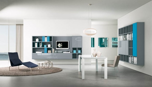 modern living rooms with wall units Modern Living Rooms with Shelving Storage Units