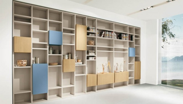 modern living rooms with wood shelves Modern Living Rooms with Shelving Storage Units
