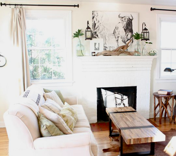 Pastel Living Room With Fireplace