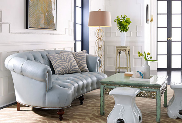 Pastel Modern Chic Living Room Turquoise Sofa Couch