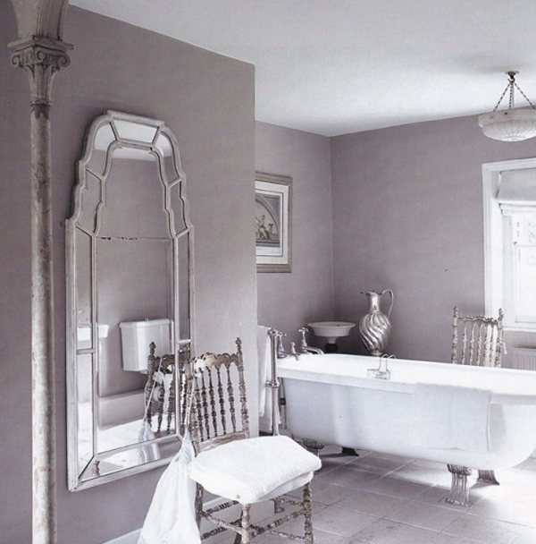 Purple bathroom ideas for women for Grey and purple bathroom ideas