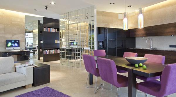23 Purple Dining Room Designs Decorating Ideas: Purple-dining-room-in-kitchen-ideas