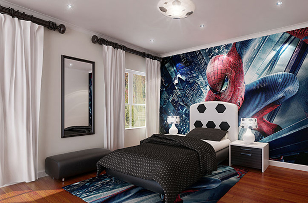spiderman bedroom.  spiderman bedroom design