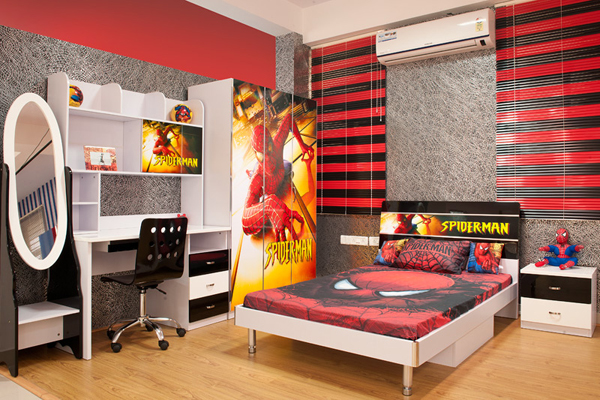 15 kids bedroom design with spiderman themes home design and interior. Black Bedroom Furniture Sets. Home Design Ideas