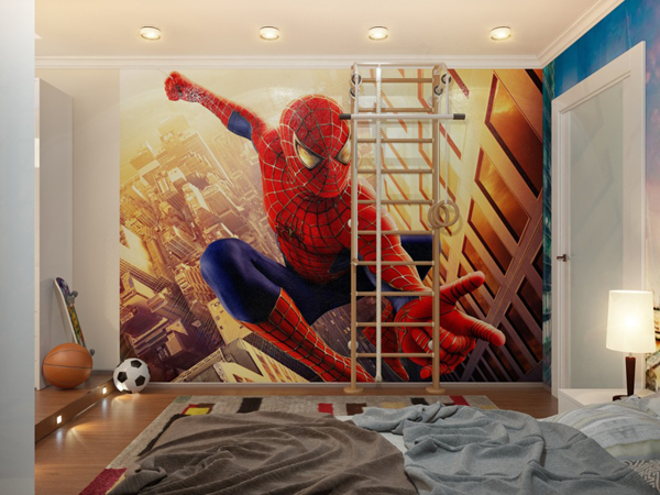 Spiderman down lit boys room with ladder for Room interior design for boys