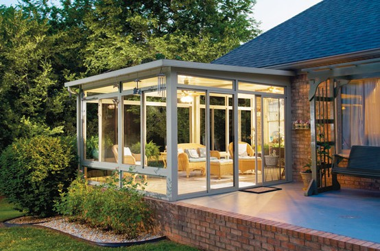 sunroom design with terrace house