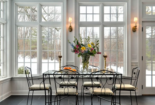 Sunroom windows with dining room for Dining room window designs