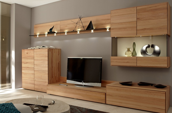 TV Stand Furniture with Wooden Wall Unit by Hulsta | Home Design And ...