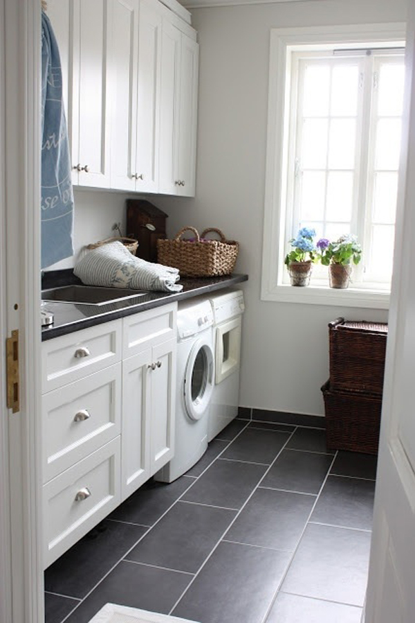 White laundry room design ideas for Laundry room floor ideas