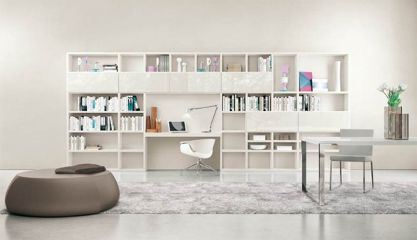 white living rooms with shelving units Modern Living Rooms with Shelving Storage Units