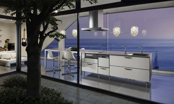 Blue japanese kitchen decor for Japanese kitchen designs