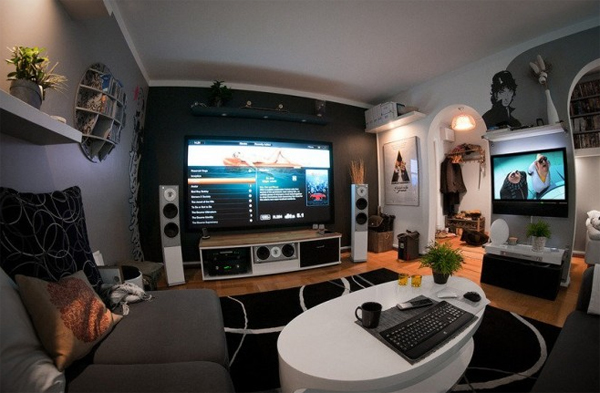 coolest home entertainment system for room ideas home design and interior. Black Bedroom Furniture Sets. Home Design Ideas