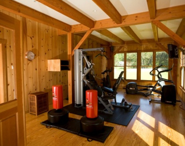 Home gym design with wood floor
