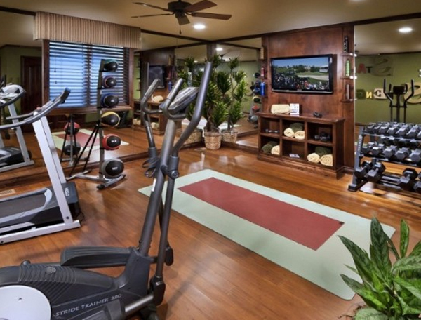 Top home gym equipment with wood elements design