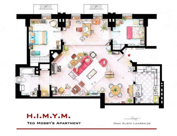 Floor plan of how i met your mother apartment ideas Home architecture tv show