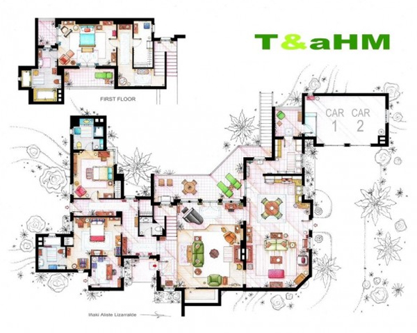 Floor plans two and a half men apartments Home architecture tv show