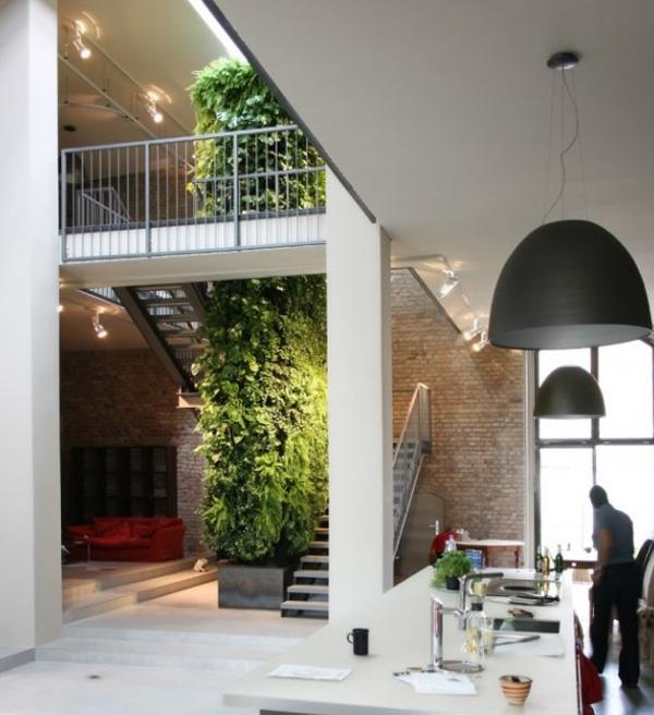 Interior Kitchen With Vertical Wall Garden
