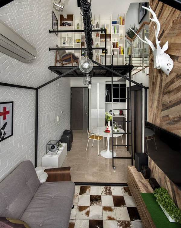 Small loft interior design in singapore for Small house design loft
