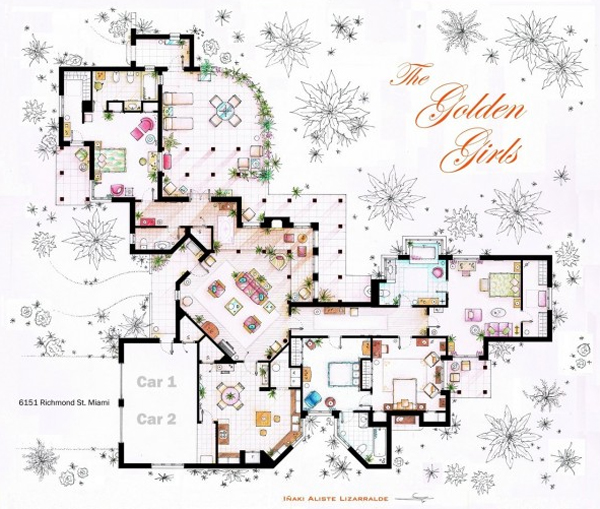 The golden girls house floor plans for Famous home designs
