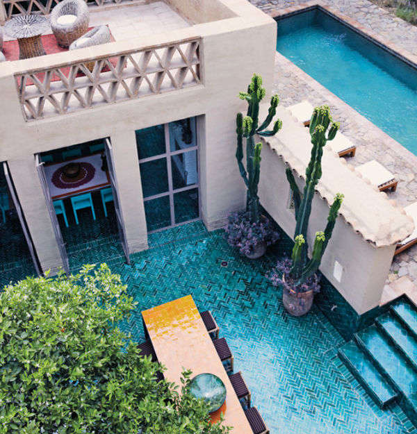 Traditional house with pool in morocco for Moroccan house plans