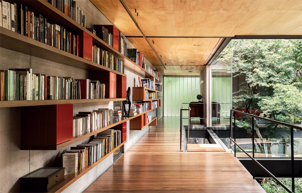Wood House Design With Library In Sao Paulo Homemydesign