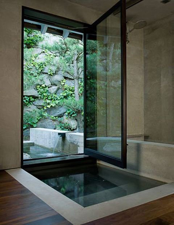 Awesome indoor outdoor bathrooms for Outdoor pool bathroom ideas
