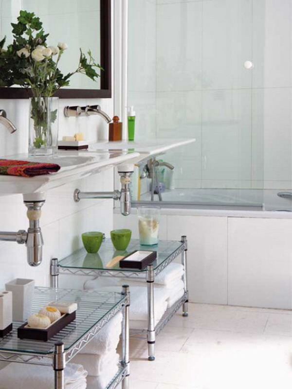Green Bathroom Storage Ideas
