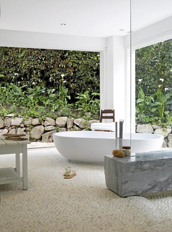 15 creative bathrooms with outdoor space home design and for Indoor outdoor bathroom design ideas