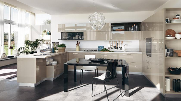 Contemporary Kitchen With Dining Area