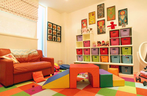 Colorful kids playroom designs for Playroom living room combination