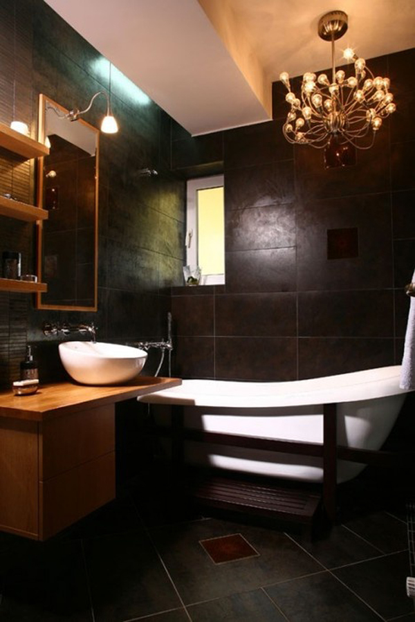 Dark wood floor bathrooms for Dark wood bathroom designs
