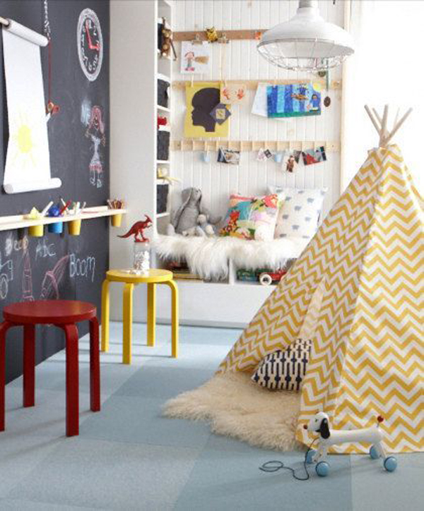 Kids Playroom with Chalkboard Wall Ideas 600 x 724