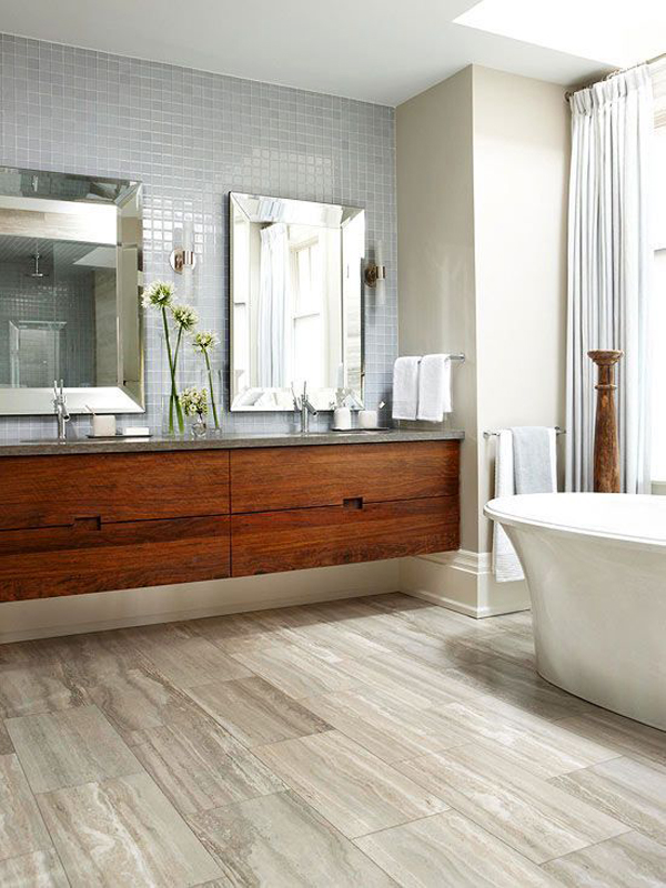 10 wood bathroom floor ideas home design and interior for Hardwood floor in bathroom