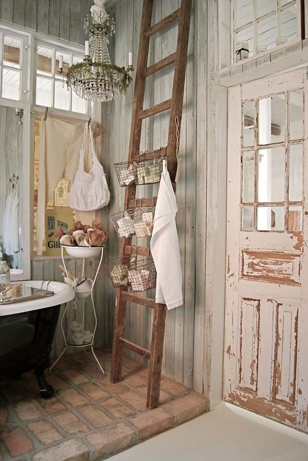 27 vintage ladders for interior ideas home design and - Decorative ladder for bathroom ...