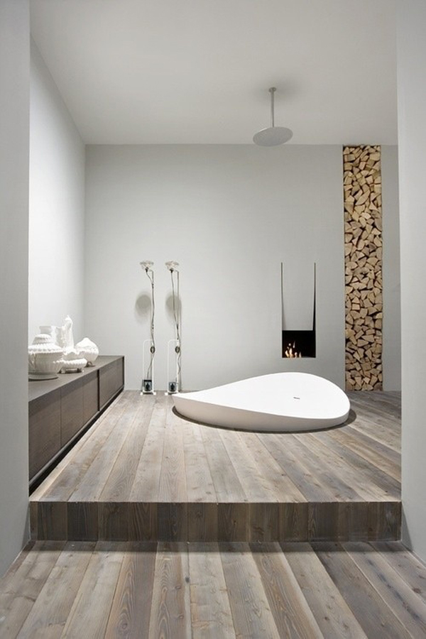 Wood Bathroom Decorating Ideas ~ Wood floor bathroom designs