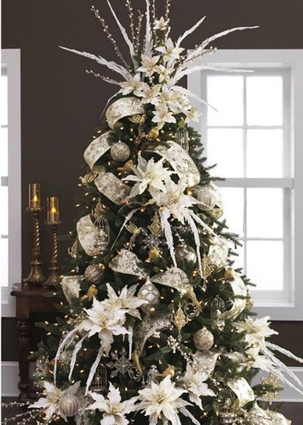 22 wonderful christmas tree ideas home design and interior - Christmas Tree Flower Decorations