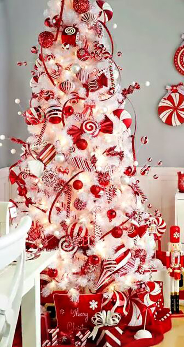 White red christmas tree for Christmas tree with red and silver decorations