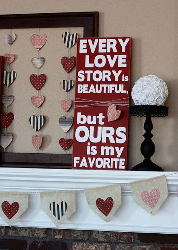 Valentine mantel decor ideas for Home decorations for valentine s day