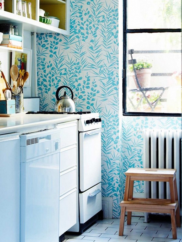 blue kitchen wallpaper 17 Inspire Wallpaper In The Kitchen