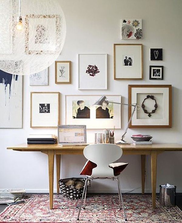 Gallery wall home office ideas for Wall art ideas for office