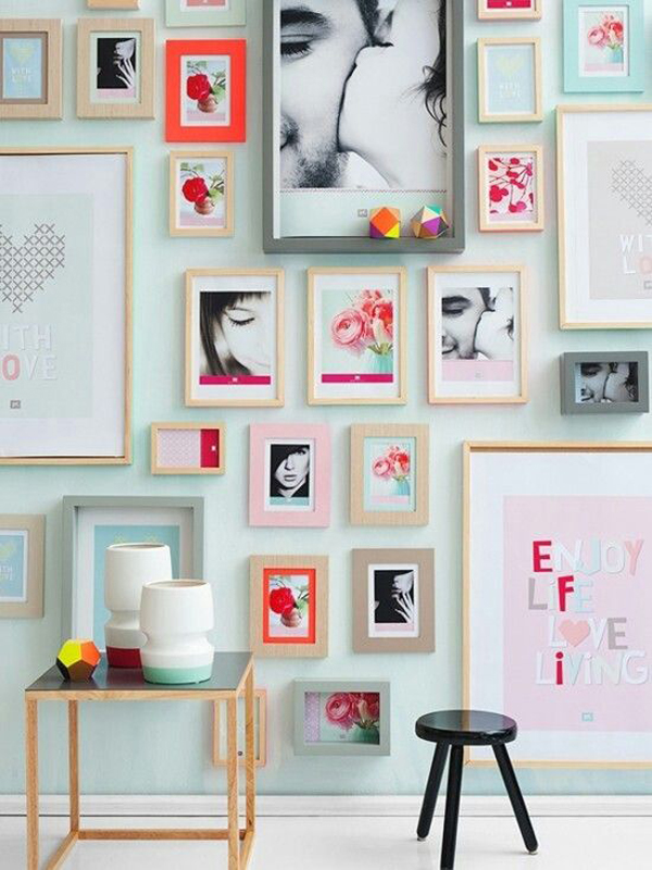 Gallery wall pastel interior for Pastel house interior