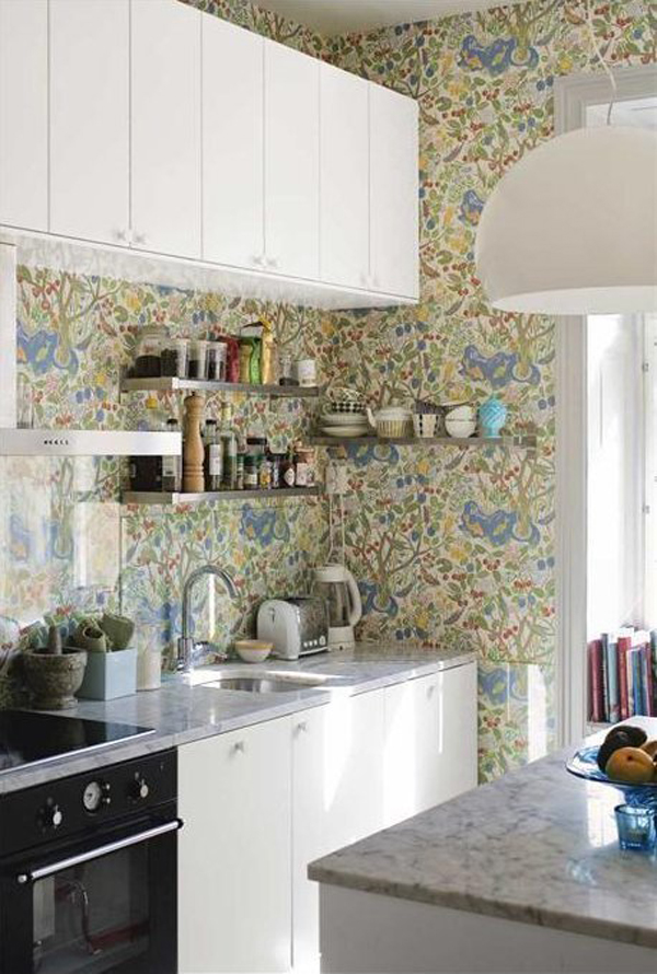 Kitchen wall storage ideas for Wallpapered kitchen ideas