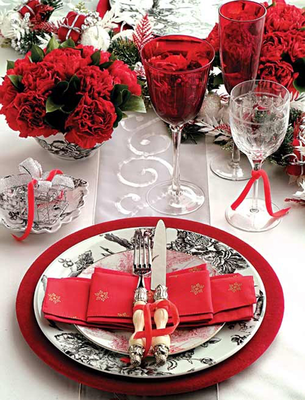 Red valentine day table flower settings Christmas place setting ideas
