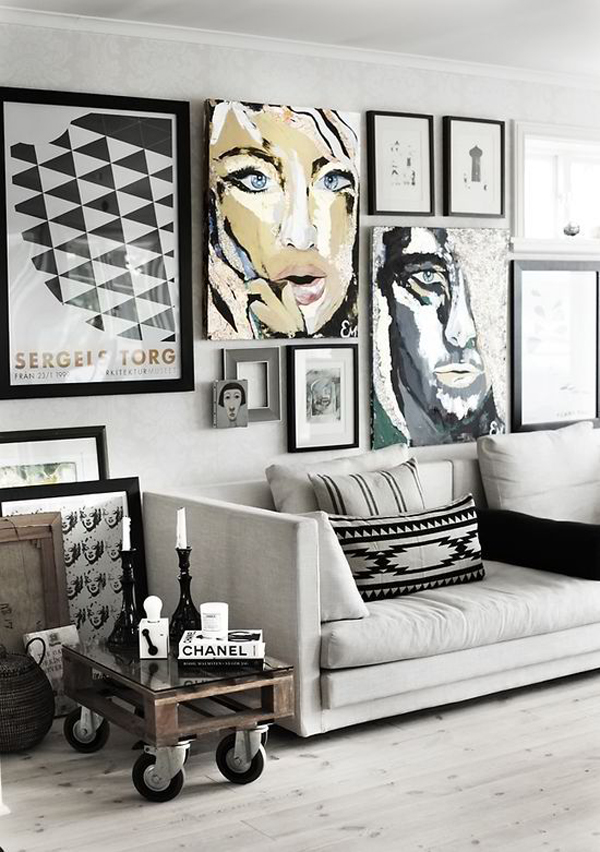 Gallery Wall Ideas Black And White : White gallery wall living space