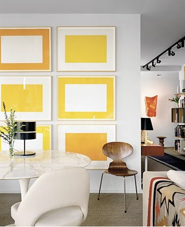 Yellow Gallery Wall Interior Ideas