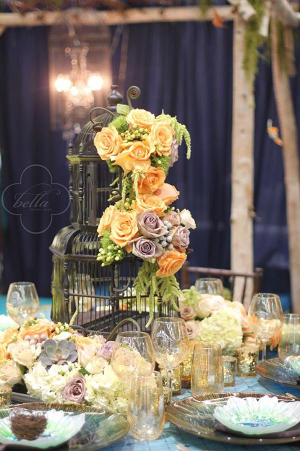 Flower birdcage table centerpiece